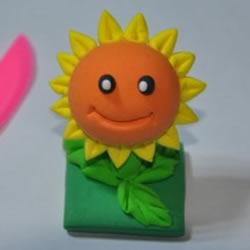 超轻粘土DIY制作植物大战僵尸向日葵的图解