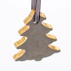 自制水泥圣诞树挂件 水泥手工制作圣诞树挂饰