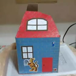 废纸盒做房子手工步骤 幼儿园手工纸盒房