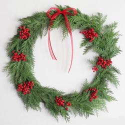 圣诞花环制作方法图解 DIY雪松圣诞花环教程