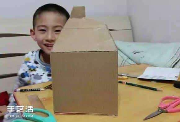 廢紙盒做房子手工步驟 幼兒園手工紙盒房子