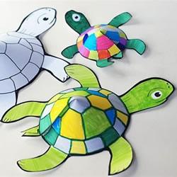 幼儿手工乌龟剪纸教程 简单剪纸立体乌龟图解