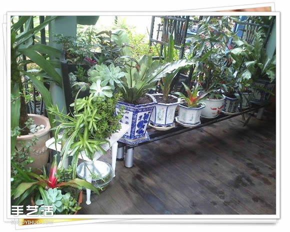 铁架子废物利用 DIY手工制作搁置花盆的架子 -  www.shouyihuo.com