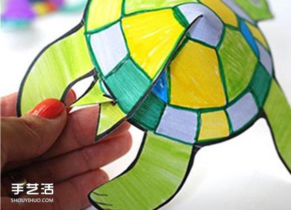 幼儿手工乌龟剪纸教程 简单剪纸立体乌龟图解 -  www.shouyihuo.com