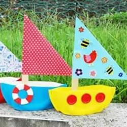 幼儿小帆船的制作过程 简单纸盘小船的做