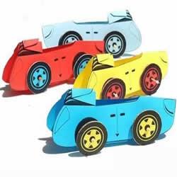 幼儿园卡通剪纸小汽车 卡纸简单制作小汽