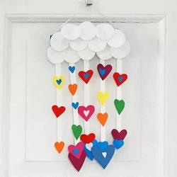 DIY爱心雨风铃制作方法 可爱纸风铃的做法图解