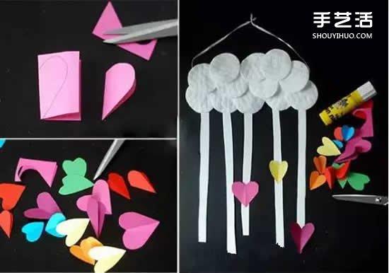 DIY愛心雨風鈴製作方法 可愛紙風鈴的做法圖解