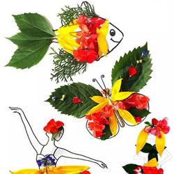 树叶和花瓣贴画制作图片 鲜花叶子拼贴画DIY