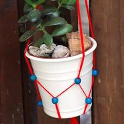 花盆挂袋的编织方法 手工编花盆挂绳的图解