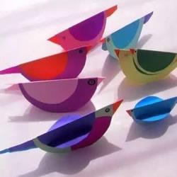 幼儿园手工制作小鸟 简单立体卡纸小鸟的
