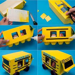 幼儿校车手工制作 牛奶盒和蛋托制作校车图解