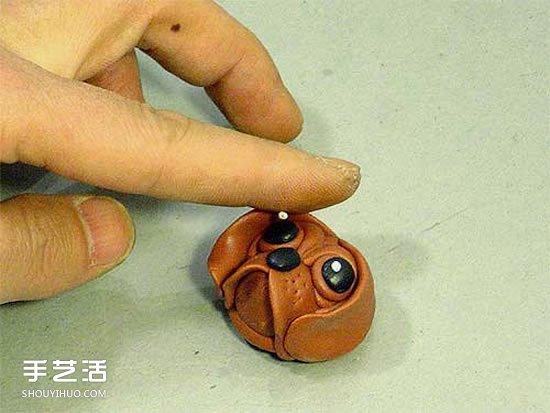超輕粘土狗頭鑰匙扣DIY 手工自製粘土狗頭掛件