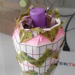 一次性纸杯DIY收纳筒 简易收纳筒笔筒的做