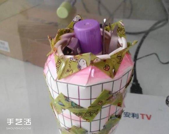 一次性紙杯DIY收納筒 簡易收納筒筆筒的做法