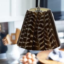 旧灯罩改造DIY小制作 用羽毛改造吊灯灯罩图解