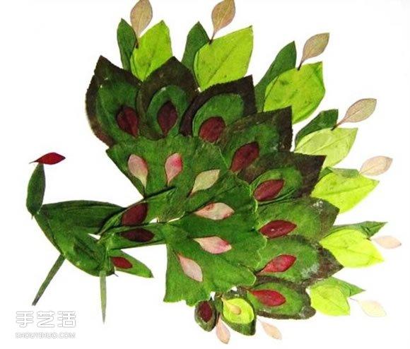儿童树叶贴画动物图片 动物的树叶拼贴画作品 -  www.shouyihuo.com