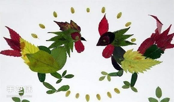 树叶贴画之公鸡_幼儿园简单漂亮有创意树叶贴画欣赏第5张
