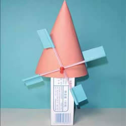 简易荷兰风车的制作方法 牙膏盒做风车的