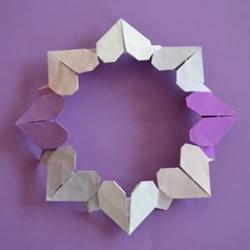 爱心花环折纸步骤图解 用折纸爱心制作美丽花环