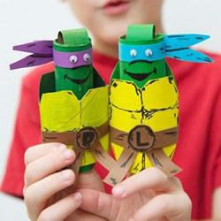 忍者神龟手偶玩具制作 卷纸筒手工制作忍
