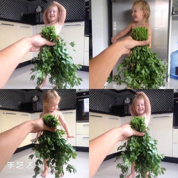 創意兒童照:小女孩穿上媽媽做的可愛蔬果禮服