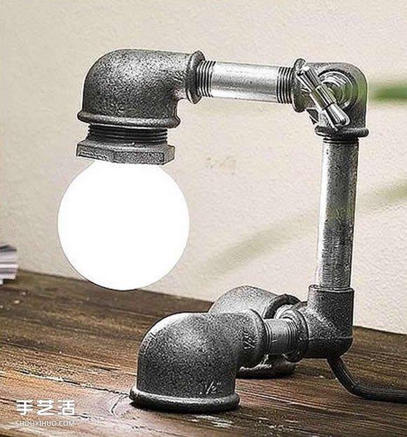 金屬管道材料DIY製作個性檯燈的作品圖片