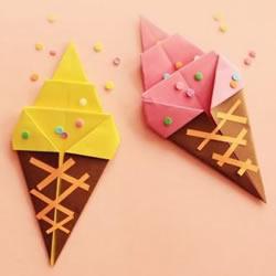 儿童冰激凌折纸方法 简单可爱冰激凌折法