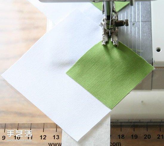 对角线车缝的小技巧 不织布车缝直线条的方法 -  www.shouyihuo.com