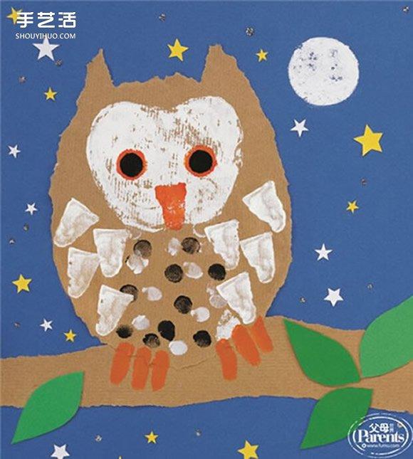 撕纸和手指画的融合 幼儿猫头鹰装饰画制作 -www.shouyihuo.com