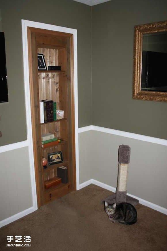 自制隐藏门的制作方法 伪装成书架的浴室门DIY -  www.shouyihuo.com
