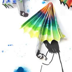 儿童折纸彩色雨伞图解 再手工制作漂亮的画作