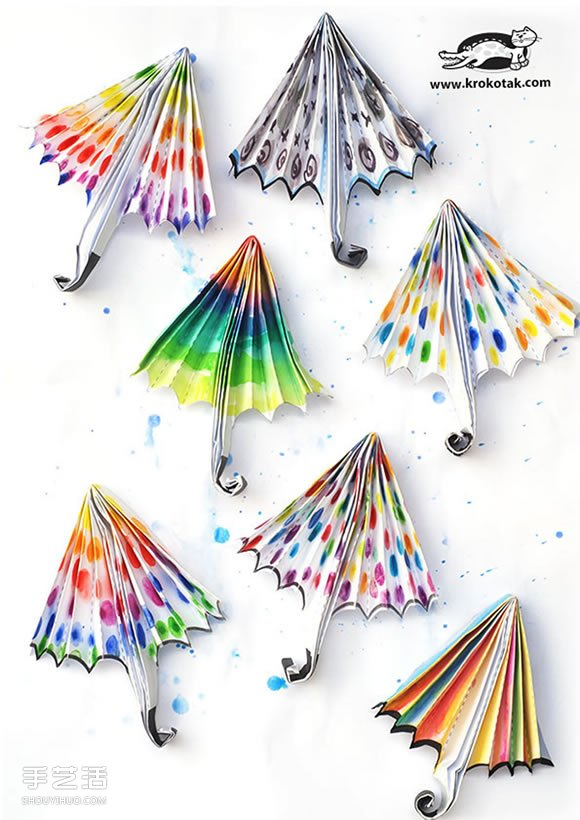 儿童折纸彩色雨伞图解 再手工制作漂亮的画作 -www.shouyihuo.com