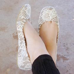 怎么改造平底鞋的方法 蕾丝平底鞋DIY图解教程