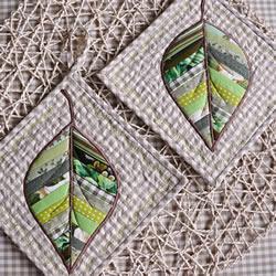 漂亮拼布树叶杯垫DIY 拼布制作树叶图案杯垫