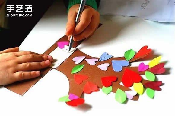 """卡纸剪树藤_幼儿园母亲节礼物:""""五指连心树""""手工制作_手艺活网"""