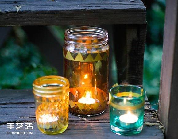 唯美玻璃烛台DIY教程 玻璃瓶改造制作烛台 -  www.shouyihuo.com