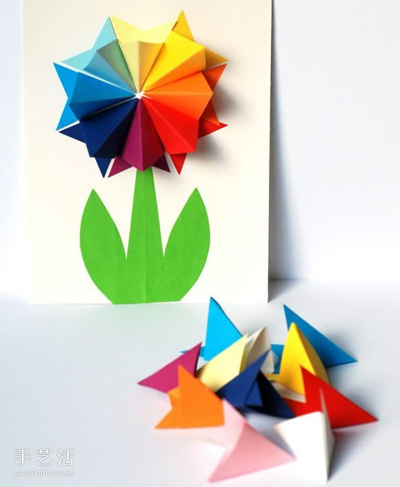 简单漂亮的的母亲节贺卡制作 带手工纸花图案  -  www.shouyihuo.com