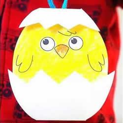 孵化的小鸡卡纸制作 幼儿手工制作小鸡挂件