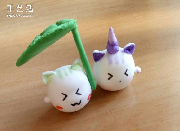 怎樣製作粘土打傘的小貓 超輕粘土卡通貓咪DIY
