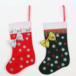 不织布圣诞袜制作方法 手工布艺圣诞袜子DIY