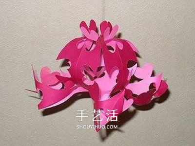 剪紙花朵掛飾的步驟圖 立體剪紙花掛飾的做法