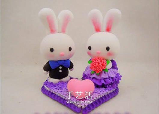 婚禮用情侶兔子擺件DIY 結婚兔子手工製作教程