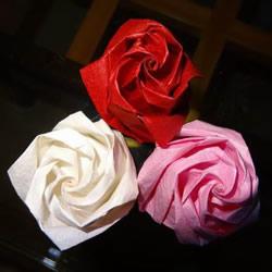 卷心玫瑰花的折法图解 卷心玫瑰折纸教程