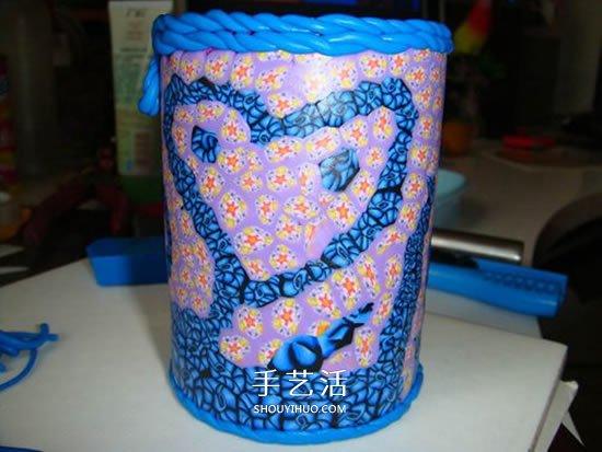 自制软陶切片笔筒图解 薯片筒做粘土切片笔筒 -  www.shouyihuo.com