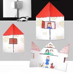 """""""我爱我家""""小房子折纸 幼儿园手工折纸"""