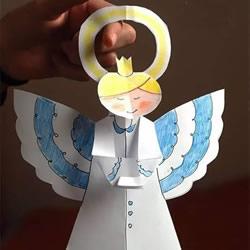 可爱天使挂饰剪纸方法 幼儿园天使小手工