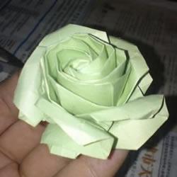 美丽又复杂玫瑰花折纸 NS玫瑰折纸实拍图解