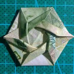 六角徽章的折法图解 一元纸币折纸六角徽
