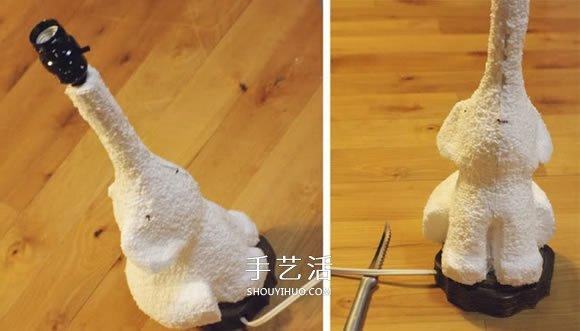 小象台灯灯座制作方法 泡沫板石膏模DIY小象灯座 -  www.shouyihuo.com